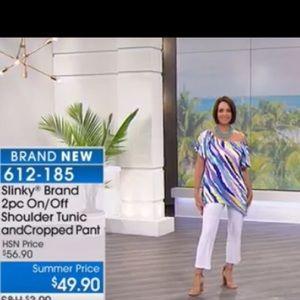 Slinky Brand On/Off Shoulder Top w/Crop Pants, XL